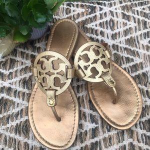 Tory Burch Miller Sandals Gold Sz 9